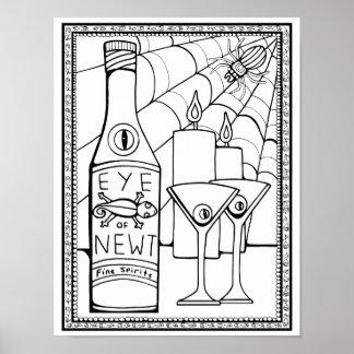 Poster Page adulte de carte de coloration de Martini de