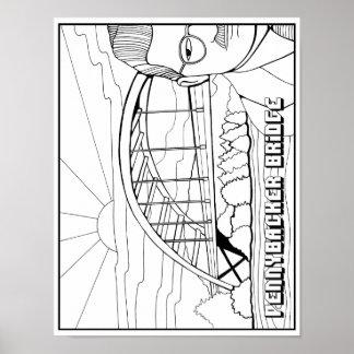 Poster Page adulte de carte de coloration de pont de
