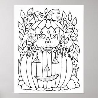Poster Page adulte de carte squelettique de coloration de