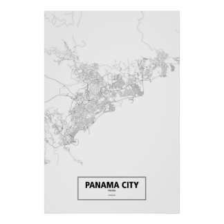 Poster Panamá City, Panama (noir sur le blanc)