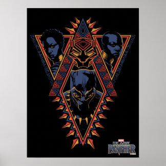 Poster Panneau de tribal de guerriers de la panthère