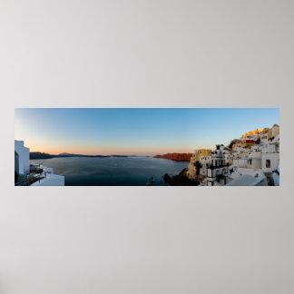 Poster Panorama de lever de soleil de Santorini