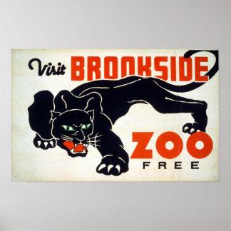 """Poster Panthère noire vintage WPA """"de zoo de Brookside de"""