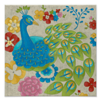 Poster Paon et fleurs colorés