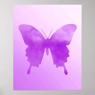 Poster Papillon d'aquarelle - lavande et violette