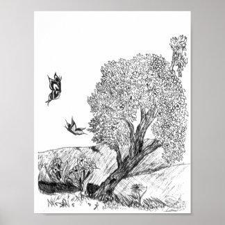 Poster Papillon et arbre noirs et blancs