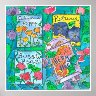 Poster Paquets de graine de fleur d'aquarelle