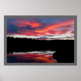 Poster Parc national d'Acadia d'étang de coucher du
