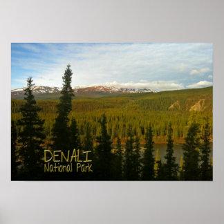 Poster Parc national de Denali en souvenir de l'Alaska