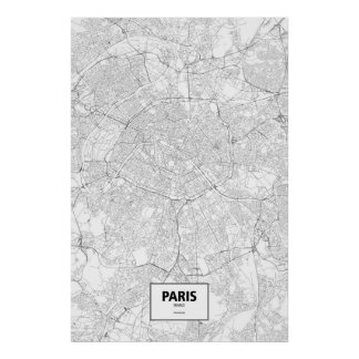 Poster Paris, France (noir sur le blanc)