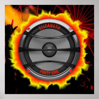 Poster Partie de danse bruyante colorée d'orateur de