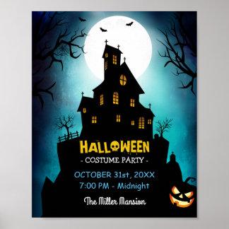 Poster Partie hantée éffrayante de Halloween de costume