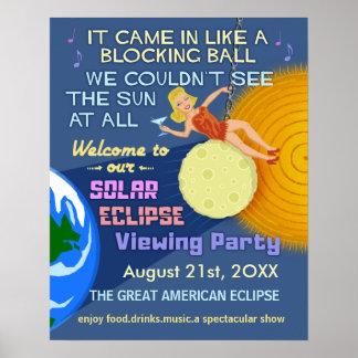Poster Partie rétro Sun drôle d'éclipse solaire regardant
