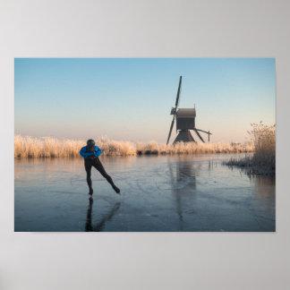 Poster Patinage de glace après le moulin à vent et