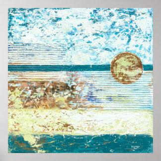 Poster Patine - art abstrait texturisé de vert bleu