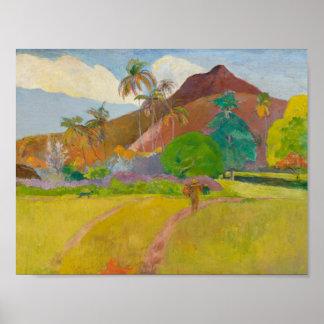 Poster Paul Gauguin - paysage de Tahitian