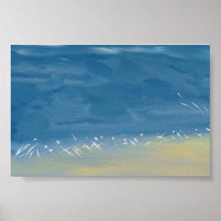Poster Paysage d'art de peinture d'aquarelle
