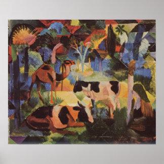 Poster Paysage d'August Macke avec les vaches et le