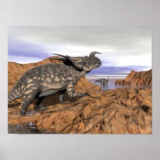 Poster Paysage de dinosaures - 3D rendent