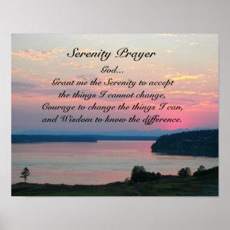 Poster Paysage marin de rose de prière de sérénité