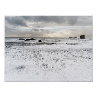 Poster Paysage marin mousseux pâle d'océan, Islande