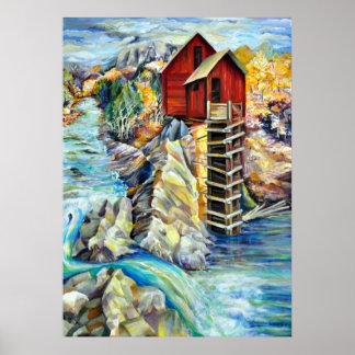 Poster Paysage pittoresque du Colorado, vieux moulin en