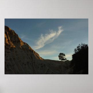 Poster Paysage solitaire de coucher du soleil de la