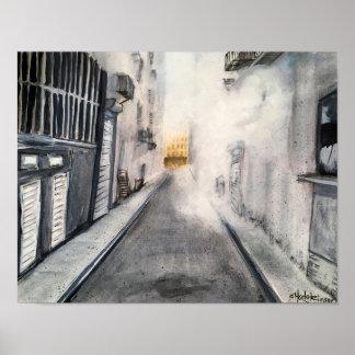 Poster Paysage urbain chaud et humide d'allée - affiche