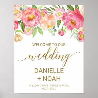 Poster Pêche et fleurs roses de pivoine épousant
