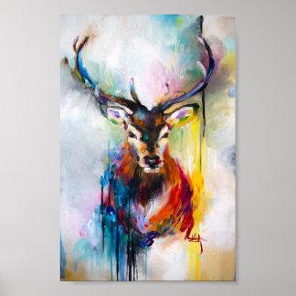 Poster peinture à l'huile de cerfs communs