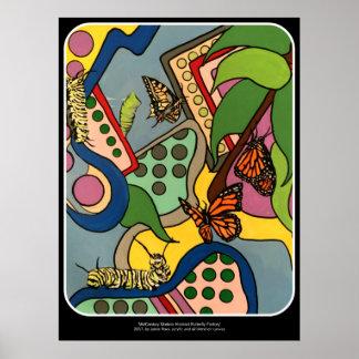 Poster Peinture abstraite d'usine de papillon de la