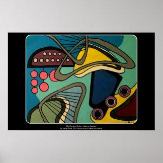 """Poster Peinture aquatique abstraite moderne de la """"moitié"""