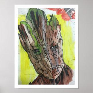 Poster Peinture artistique d'homme d'arbre