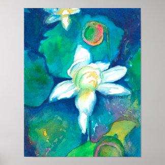 Poster Peinture d'aquarelle de fleurs de Lotus