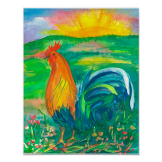 Poster Peinture d'aquarelle de poulet de coq