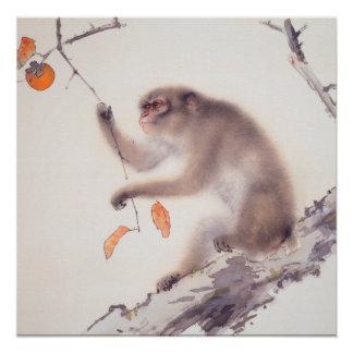 Poster Peinture japonaise de singe - année du singe