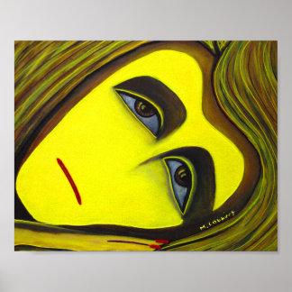 Poster Peinture jaune surréaliste