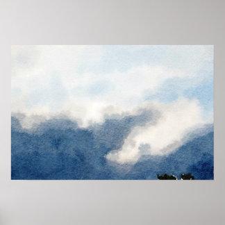 Poster Peinture surréaliste d'aquarelle de ciel et de