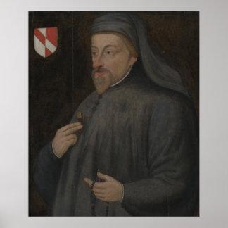 Poster Peinture vintage de portrait de Geoffrey Chaucer