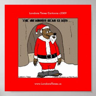 Poster Père Noël l'affiche drôle de Noël d'ours