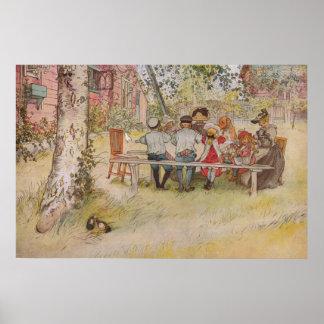 Poster Petit déjeuner de Carl Larsson sous le grand