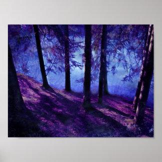 Poster Petite affiche abstraite d'étang de forêt