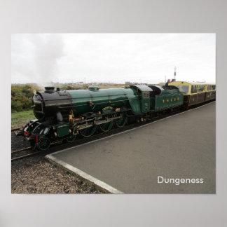 Poster Petite affiche avec le train de vapeur chez