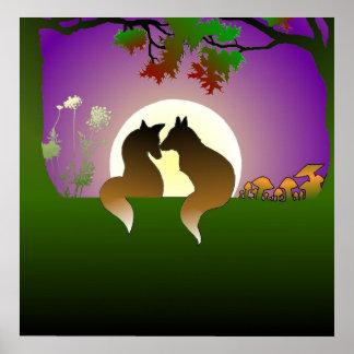 Poster Petite affiche de renards