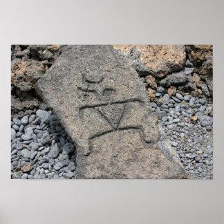 Poster Pétroglyphe hawaïenne - copie