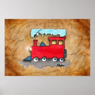 """Poster """"Peu affiche d'art de train rouge"""""""