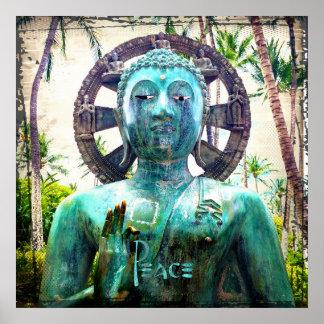 Poster Photo asiatique de statue de Bouddha de turquoise