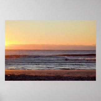 Poster Photo de lever de soleil d'océan de plage