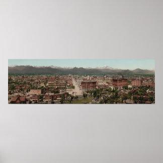 Poster Photo panoramique d'horizon vintage de Denver le