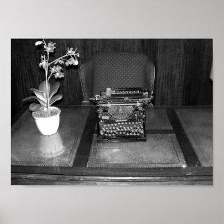 Poster Photographie antique noire et blanche de machine à